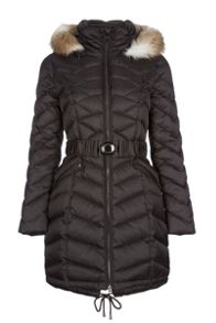 Down jacket with detachable faux fur hood