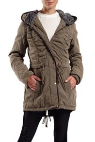 Hooded jacket with faux fur hood liner
