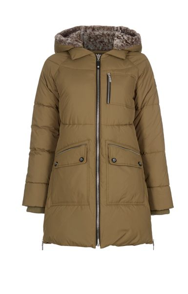Halifax Traders Long Quilted Jacket with Faux Fur Hood