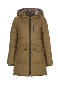 Long quilted jacket with faux fur hood