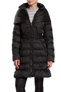 Dawn Levy Down Jacket belted with faux fur collar