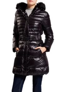 Quilted 3/4 length jacket with faux fur hood