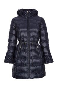 Down hooded jacket with drawstring waist