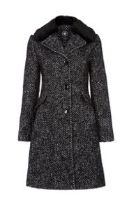 wool coat with detachable faux fur collar