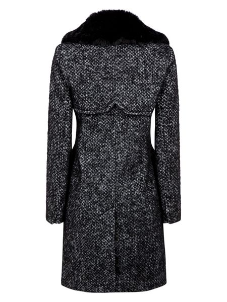 Halifax Traders wool coat with detachable faux fur collar