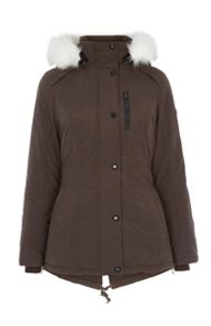 Halifax Traders Faux Fur Trim Hooded Jacket