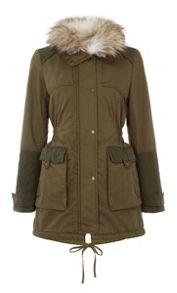 Halifax Traders Faux fur trim and hood chino jacket
