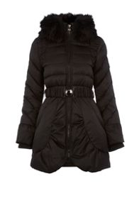 Dawn Levy Belted down jacket with detachable hood