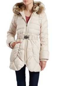 Belted down jacket with detachable hood