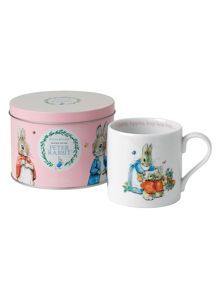 Wedgwood Peter rabbit girls mug in tin
