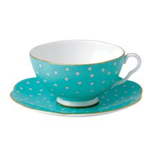 Wedgwood Polka dot tea cup and saucer turq