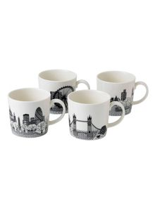 Royal Doulton Charlene mullen london calling mugs, set of 4