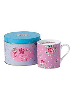 Marvellous mugs `beautiful` mug in a tin