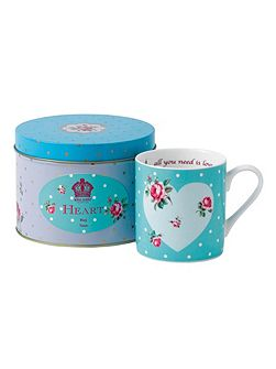 Marvellous mugs `heart` mug in a tin