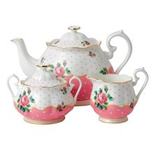 Royal Albert Cheeky pink tpot, sugar & cream 3pce set c.pink