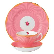 Sweet stripe 3pc set: teacup, saucer & 20cm plate