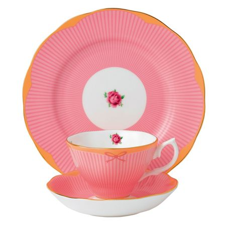 Royal Albert Sweet stripe 3pc set: teacup, saucer & 20cm plate
