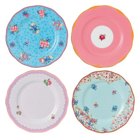 Royal Albert Candy mix mixed set of 4 plates