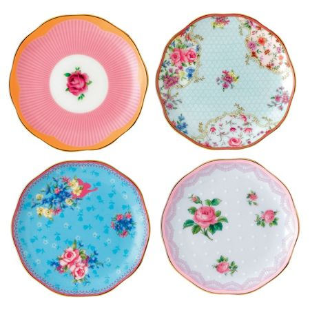 Royal Albert Candy mix mixed set of 4 mini plates