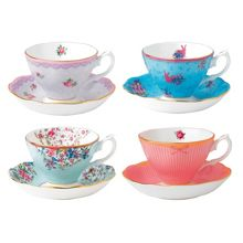 Royal Albert Candy mix mixed set of 4 teacups & saucers