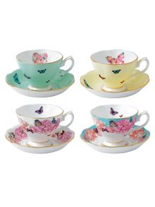 Royal Albert Miranda kerr set of 4 teacup & saucers