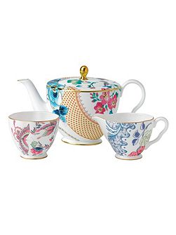 Butterfly bloom 3 piece set: teapot, sugar and