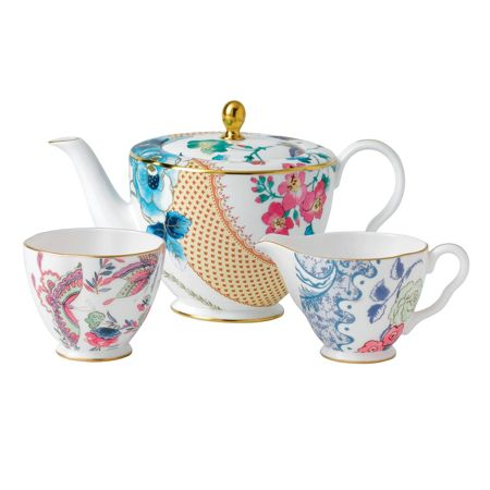 Wedgwood Butterfly bloom 3 piece set: teapot, sugar and cr