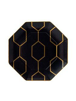 Arris octagonal side plate charcoal 23cm