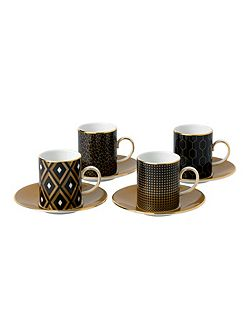 Arris set of 4 espresso cup & saucer