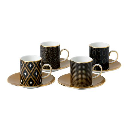 Wedgwood Arris set of 4 espresso cup & saucer gift boxed