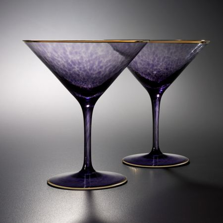 Waterford Rebel Purple Martini Gold Banded Single