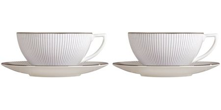 Wedgwood Jasper conran pin stripe teacup & saucer s/2 bxd