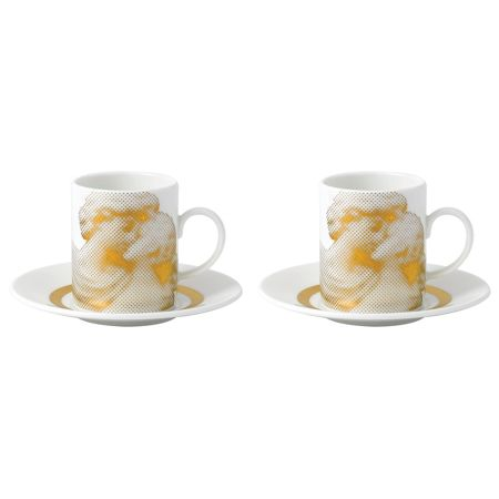 Wedgwood Gilded muse espresso cup & saucer, set of 2