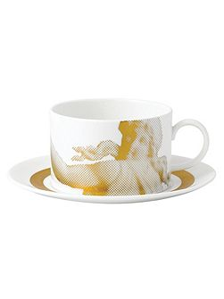 Gilded muse teacup & saucer