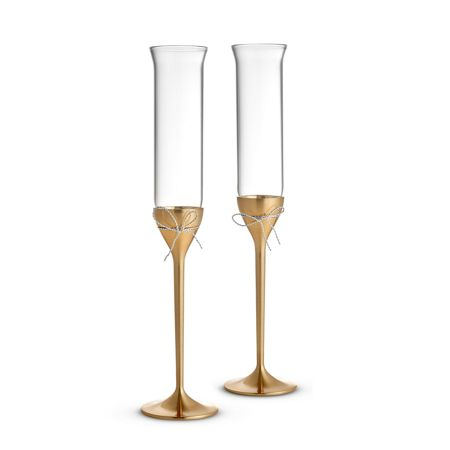 Wedgwood Vera Wang Love Knots Gold Toasting Flute Pair