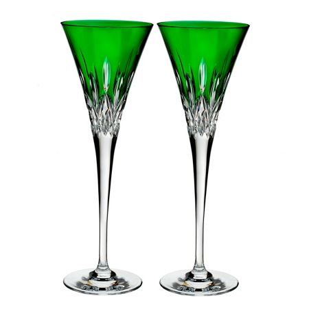 Waterford Lismore Pops Emerald Toasting Flute (x2)