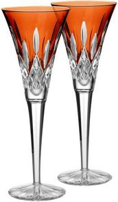 Waterford Lismore Pops Orange Toasting Flute (x2)