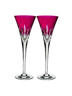 Lismore Pops Hot Pink Toasting Flute x2