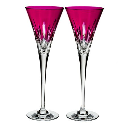 Waterford Lismore Pops Hot Pink Toasting Flute x2