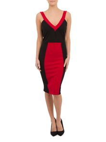 Red and Black Deep Plunge Dress