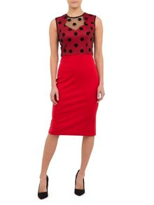 Bodycon Red Dress With Black Polka Dots