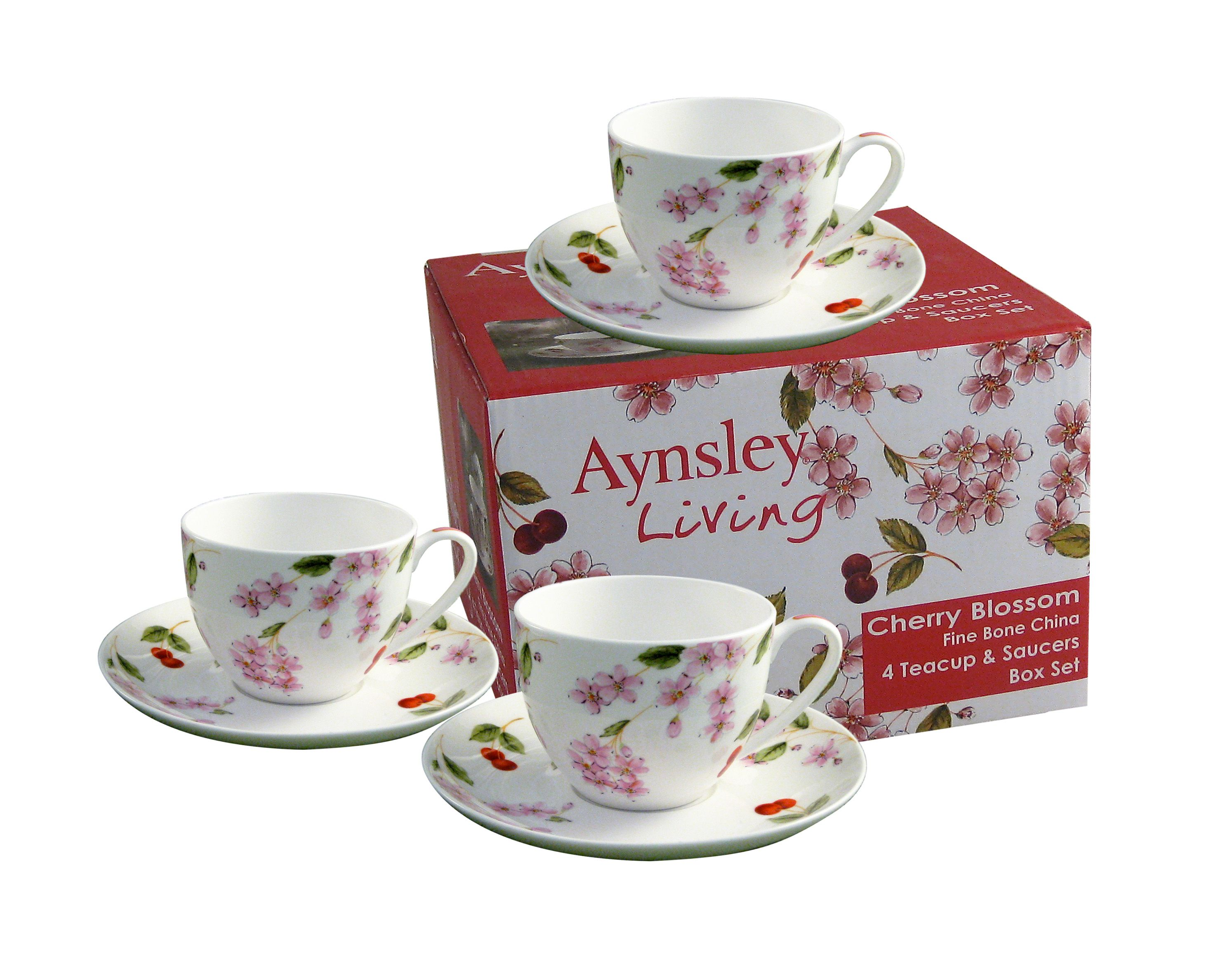 Cherry Blossom 4 person teacup and saucers set