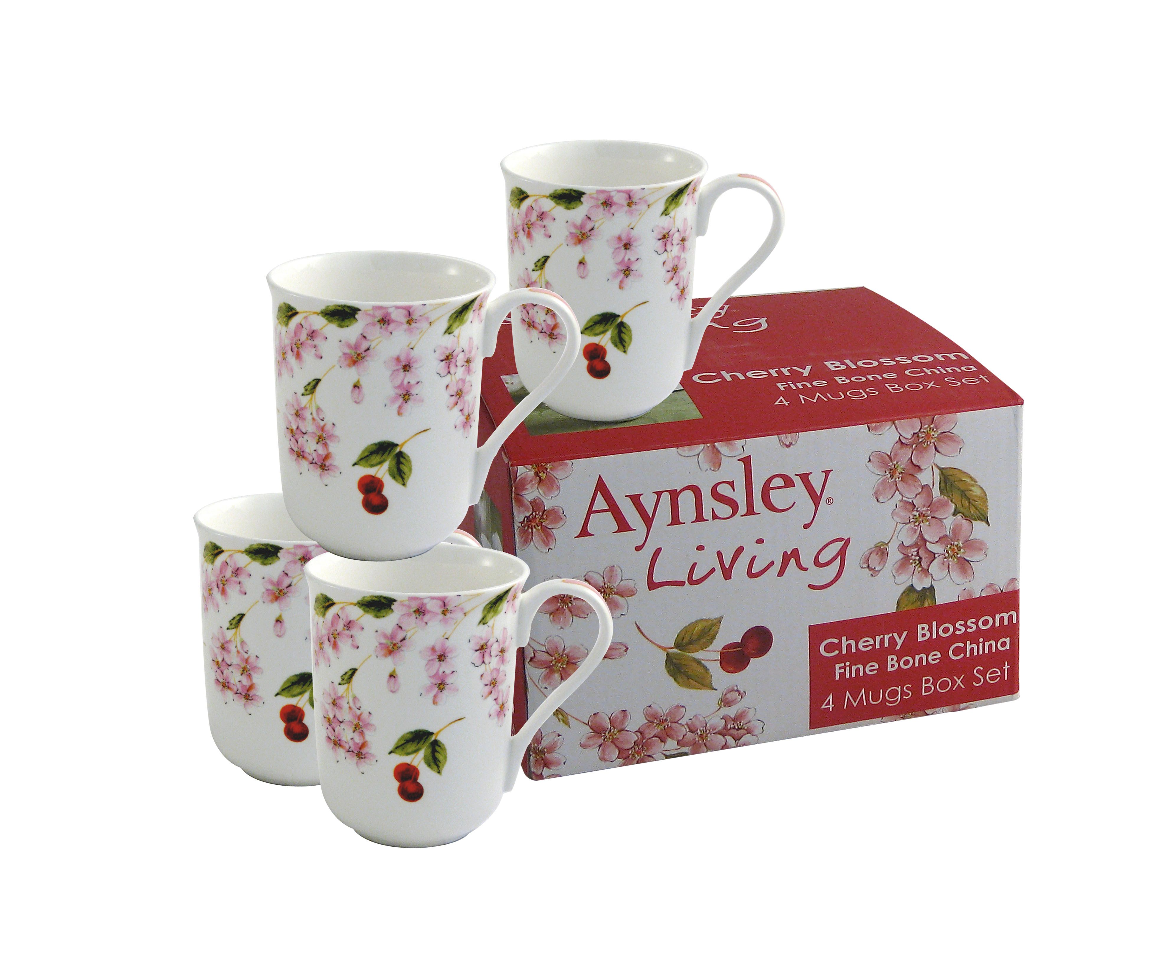 Cherry Blossom 4 piece mugs set