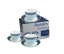 Aston Blue 4 person teacup and saucer set