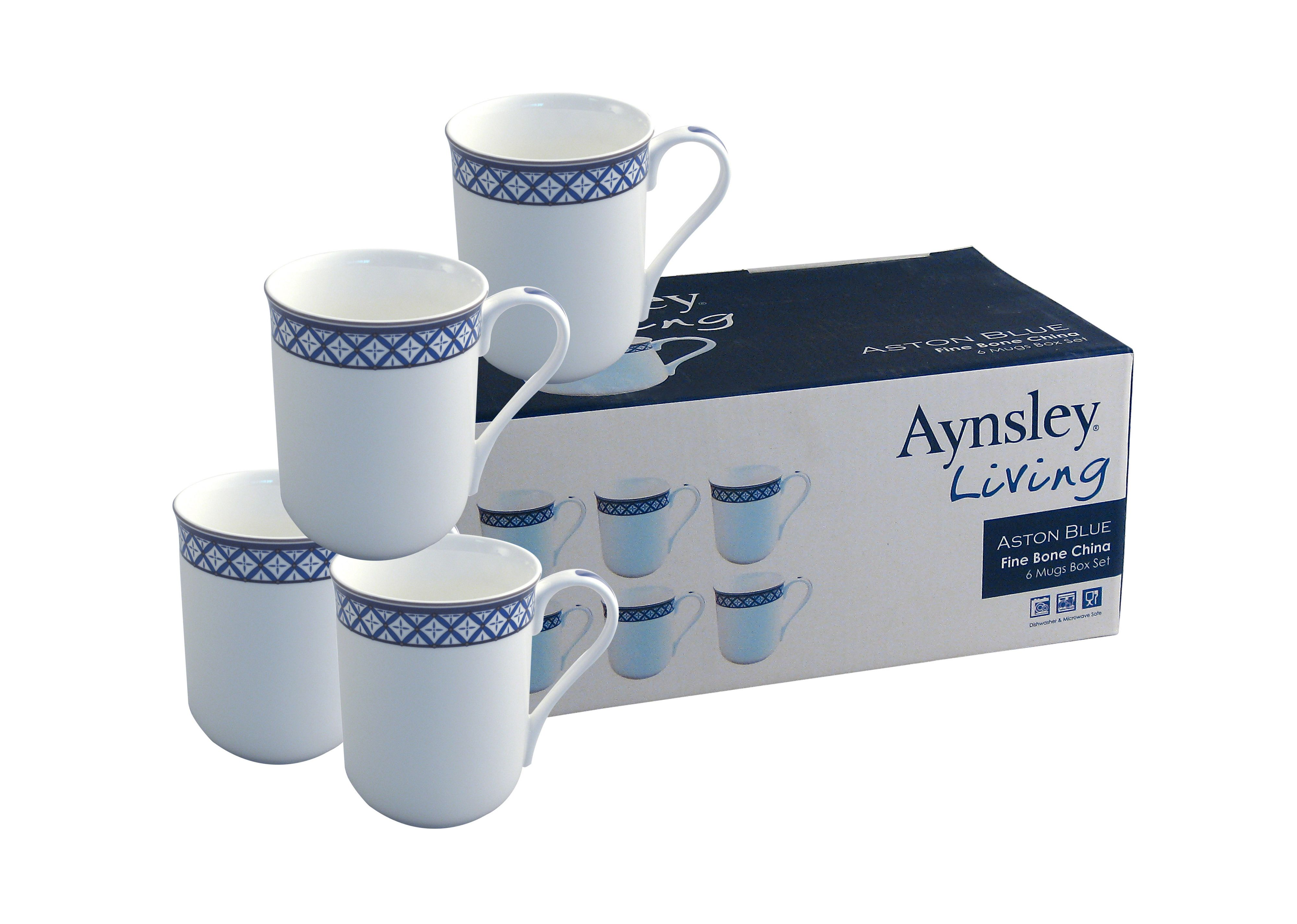 Aston Blue 6 piece mug set