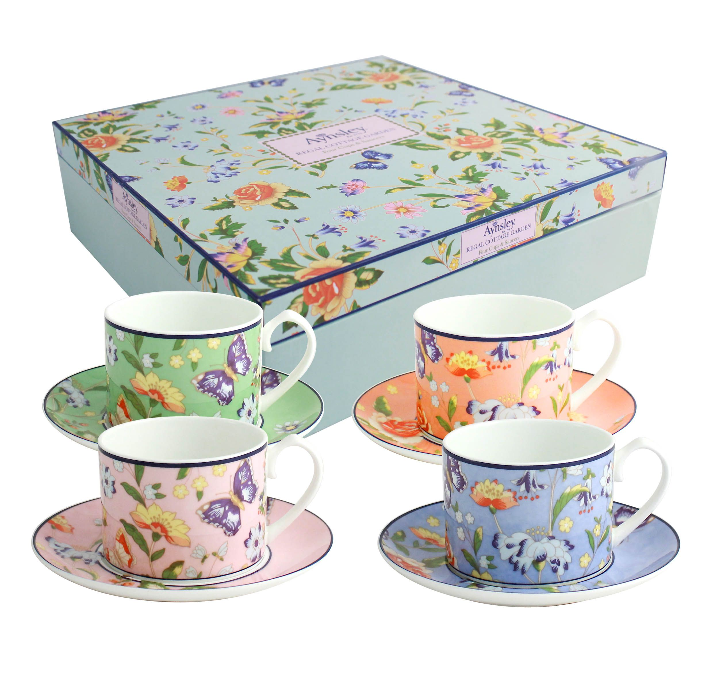 Aynsley Aynsley Cottage Garden 4 person regal cups and saucers
