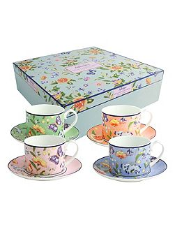 Cottage Garden 4 person regal cups and saucers