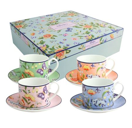 Aynsley Cottage Garden 4 person regal cups and saucers