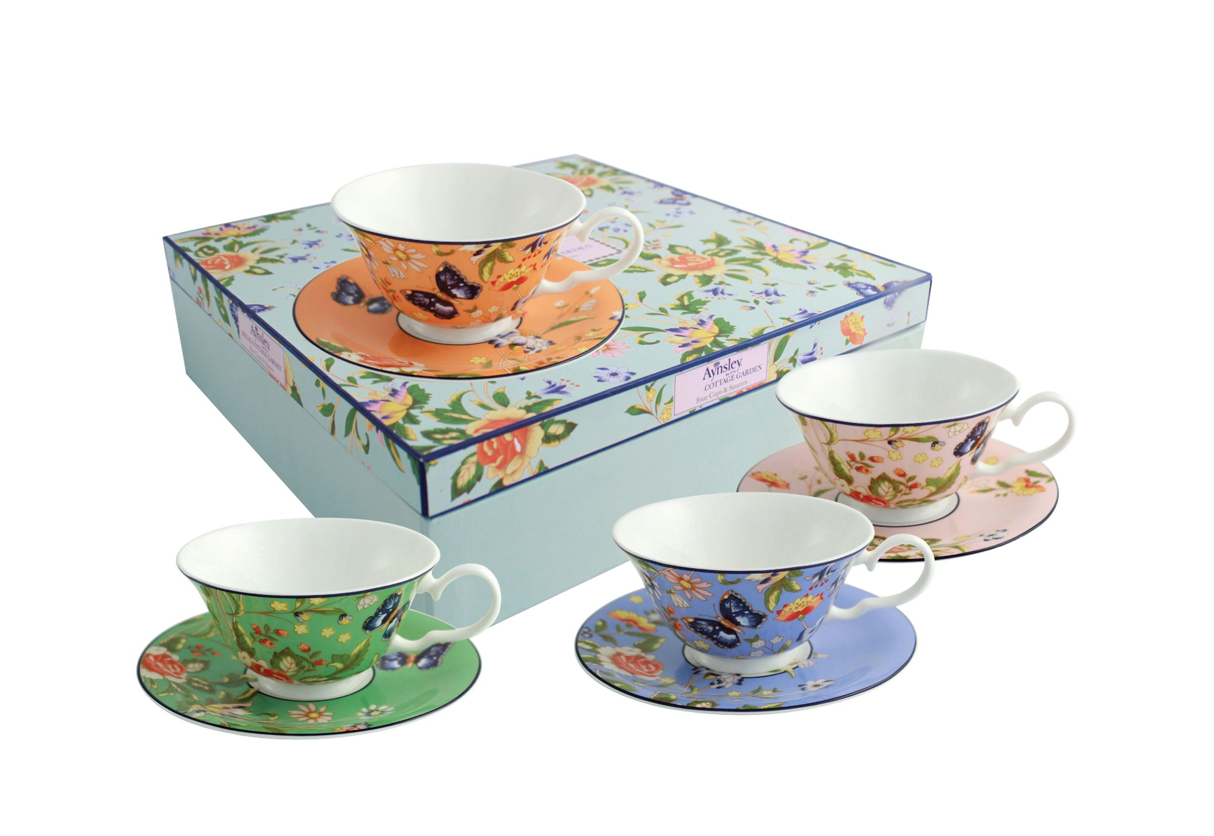 Aynsley Aynsley Cottage garden windsor teacups & saucers set of 4