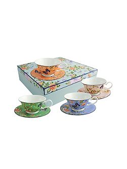 Cottage garden windsor teacups & saucers set (4)